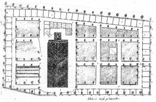1829 utvidgades kyrkogården norr om den planerade kyrkobygganden.